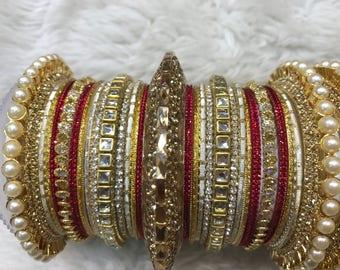 Bridal Bangles, gold bangles, red bangles, indian bangles, pakistani bangles, indian jewelry, pakistani jewelry, indian wedding jewelry