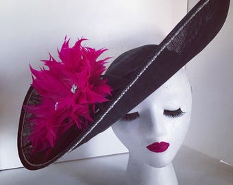 Big Pink and Black Kentucky Derby Hat
