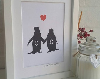 Personalised Penguin Love Framed Print