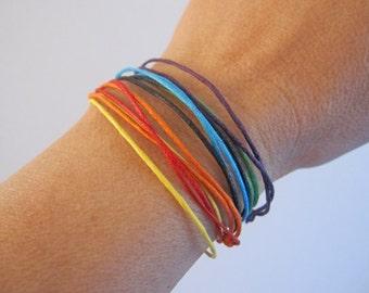 7 Chakra String Bracelets. Chakra Bracelet. String of Fate. Adjustable Bracelet. Dainty Bracelet. Stackable Bracelet. CSB