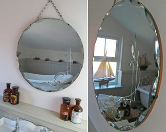 Beautiful atmospheric vintage bevel-edged circular mirror~Scalloped bevel~Rear etched~Delicious speckles of foxing~Desirably aged & charming