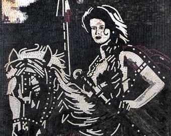 Woman Riding a Horse Mosaic Art -