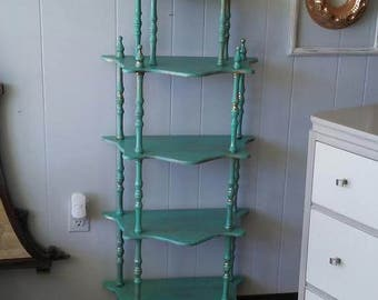 Turquoise Blue Display Shelf Painted Shelf BoHo Style Shelf Turquoise and Gold Floor Shelf Shabby Style Shelf Antique Shelf Vintage Shelf
