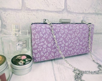 Evening bag, purple box purse, clamshell clutch purse, floral purse, handbag for special occasion, silver framed clutch with removable chain
