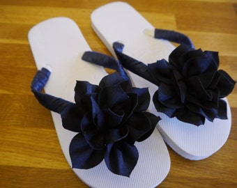 Wedding, Beach, Flip Flops, Sandals, White, Hand Decorated with Satin Ribbon and Large Lotus Flower,   Comes with Organza Bag