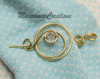 Brass hair clip,hair pin, brass or silver wire hair barrette,Shawl pin,scarf pin,sweater pin,scarf brooch,shawl brooch