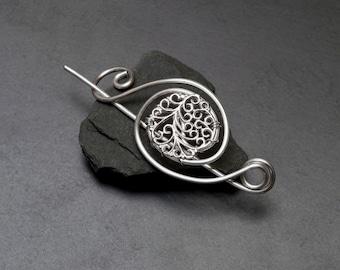 Filigree shawl pin,silver wire scarf pin,flower filigree sweater pin, flower design filigree shawl pin