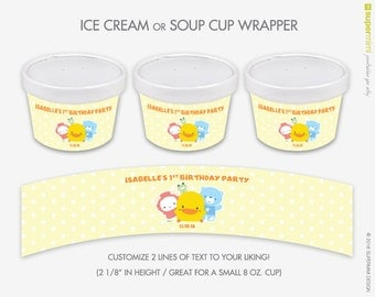 Cute Yellow Chick Piyo Piyo Ice Cream Soup Cup Wrapper Labels / Customized DIY Printable