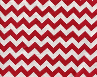 Chevron Zig Zag Christmas Red Fabric