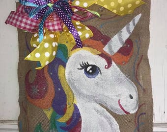 Unicorn Burlap Door Hanger