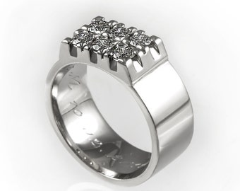 Wide diamond wedding band, unique wedding ring, diamond wedding ring, wide ring, diamond engagement ring, luxurious wedding band