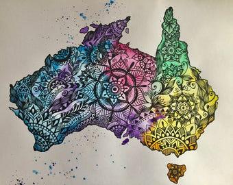 Australian map, Australian watercolor map, Australia doodle map, Australia map artwork, mapa da Austrália, Aussie map