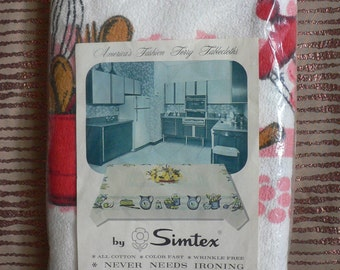 FREE SHIPPING!!!! 1960s Simtex Terrycloth Americana Tablecloth Unopened New in Package Collectible Vintage Linens