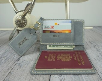 personalized leather passport holder & luggage tag in set, personalized travel wallet , custom travel wallet , gray  leather passport cover