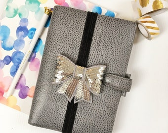 Planner Band, Silver Sequin Bow