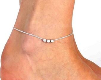 Silver Anklet - Silver Ankle Bracelet - Foot Jewelry - Foot Bracelet - Chain Anklet - Summer Jewelry - Beach Jewelry - Silver Jewelry