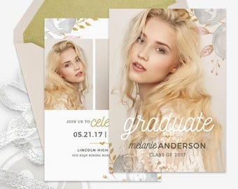 Senior Graduation Announcement Template - Floral Graduation Invitation, Graduation Party Invitation, Instant Download, Open House Invitation