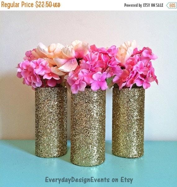 Wedding Vases For Sale: ON SALE 3 Gold Vases Glass Vases Wedding By