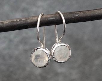 Rainbow Moonstone Earrings, Rainbow Moonstone Drops, Silver Drop Earrings, Silver and Moonstone, Faceted Rainbow Moostone, Sterling Silver