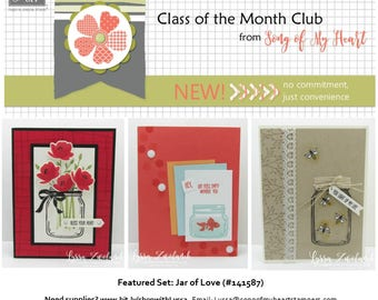 Class of the Month: Jars of Love PLUS BONUS PDF Instant Digital Download Cardmaking Classes Mason jar, wedding, Ball, wildflowers, poppies