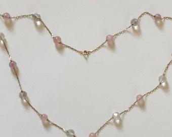 A 9k Gold Art Deco Rose Quartz and Rock Crystal Necklace
