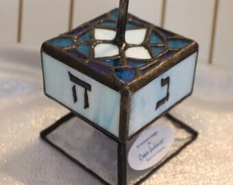 Rare Large Jewish Stained Glass Dreidel with Stand, Coja Junaica, Blue Dreidel