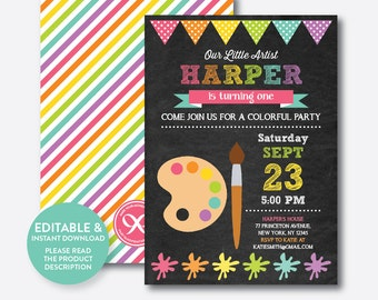 Instant Download, Editable Art Birthday Invitation, Art Invitation, Art Party Invitation, Painting Invitation, Artist, Chalkboard (CKB.88B)