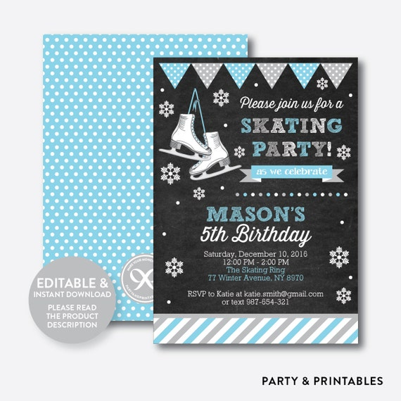 Instant download editable ice skating birthday invitation ice il570xn stopboris Gallery