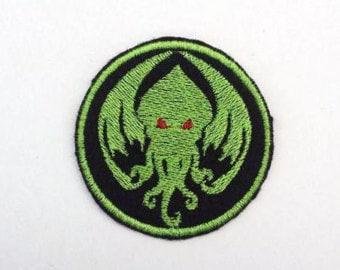 Cthulu - Iron on patch - Shiny Metallic Embroidered.