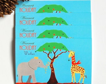 African Animal Christmas Cards, set of 4, Christmas card pack, Cute Animal cards, Warmest Holiday Wishes, African Christmas card