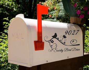 Birds on a Swirl Branch Mailbox Decal