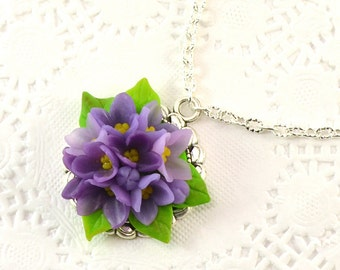 Lilac necklace / pendant - Polymer clay jewelry - Gift for girlfriend - handmade jewelry - violet flowers jewellery