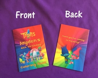 12 Personalized Trolls Coloring Books / with Crayons, Party Favors