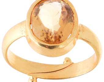 5.25ct. Golden Topaz Golden Plated Adjustable Ring