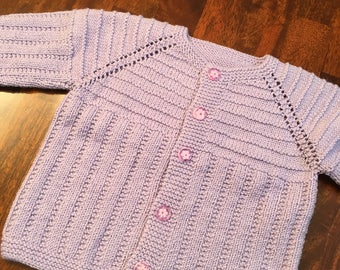 Hand knit Purple Baby Sweater