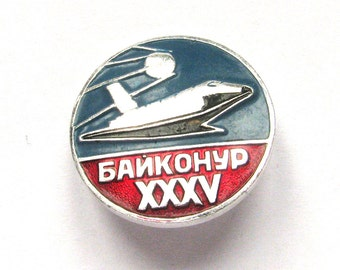 Space, Buran, Badge, Baikonur, Shuttle, Cosmos, Vintage collectible badge, Soviet Vintage Pin, Made in Russia, 1990s