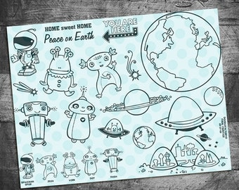 planet stamps, robot stamps, alien stamps, earth stamps, outer space stamps, Final Frontier Rubber Stamps by Starving Artistamps
