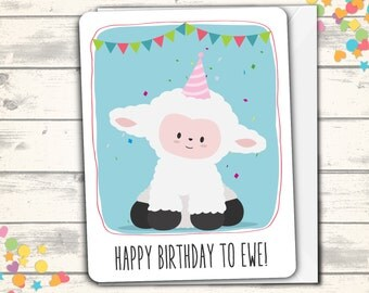 Happy Birthday Card, Lamb Pun Card, Clever Card, Funny Birthday Card, Cute Birthday Card, Birthday Greeting Card, Cute Sheep Birthday