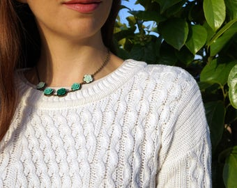 Emerald Roses Necklace Ombre Green Necklace Bib Flower Necklace Rose Flower Lover Jewelry Ombre Effect Jewelry Best Selling Items Wilderness