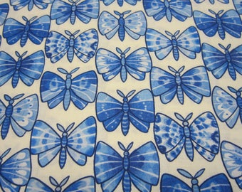 Blue Butterfly Cotton Fabric Called Luminaria Designed by Julie Paschkis for In The Beginning Fabrics