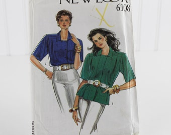 Double Button Blouse Pattern, Uncut Sewing Pattern, New Look 6108, Size 8-18