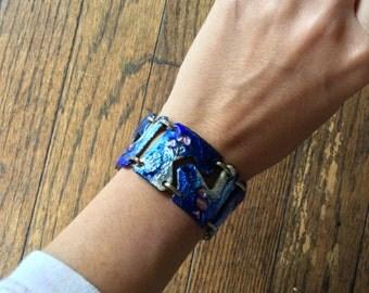 1960's Iceberg Bracelet Enameled Copper Vintage abstract art spaceage puzzle