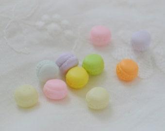 6mm Tiny Sweet Pastel Multi Kawaii Macaron Decoden Cabochon 10 piece set