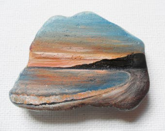 Seaside sunset, England - Original acrylic miniature painting on frosted sea glass