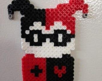 Harley Quinn Perler Bead Magnet