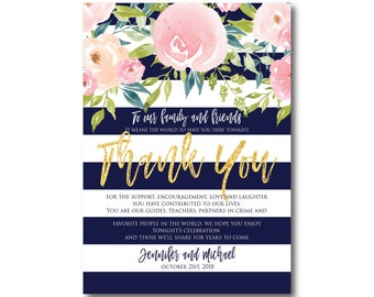 Floral Wedding Thank You Note, Watercolor Wedding, Watercolor Floral, Gold Glitter, Thank You Note, Wedding Thanks, Thank You Card #CL318