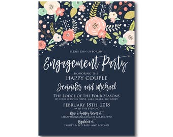 Floral Engagement Party Invitation, Boho Invitations, Engagement Party, Floral Wedding, Boho Chic Invite, Chic Invitations #CL324