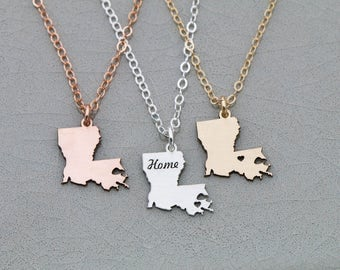 Louisiana Gift State Charm Silver State Pendant • Louisiana Custom State Necklace Louisiana Jewelry USA Necklace Rose Gold State