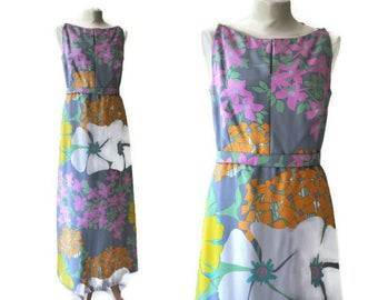 Vintage 1970's Abstract Floral Maxi Dress By Mattil of London // UK Size 14, Medium