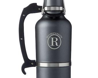 Personalized Gunmetal DrinkTanks® 64 oz. Insulated Growler - Monogrammed Beer Growler - Groomsmen Gifts - Gifts for Men - GC1555